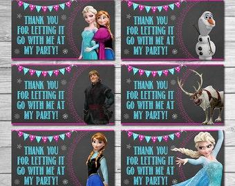 Frozen Party Tags Chalkboard // Frozen Birthday Party // Frozen Goody Bag Tags // Printable Frozen Party Favors