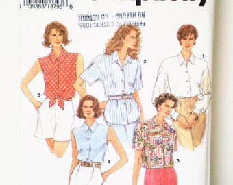 1990s Button Front Blouse Shirt Simplicity 8302 Sizes 6-12 - shirt tail hem, dropped shoulder, cropped, front tie, LS cuffed, sleeveless