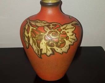 Mid Century Modern Vase ~ Harlan Dramaware Orange Vase ~ San Clemente California Pottery ~ Circa 1950s