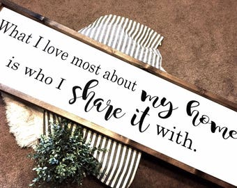 What I love most about my home Sign10X36 / Farmhouse Sign / Rustic / Home Decor / Hand painted / Wood sign / Farmhouse Style