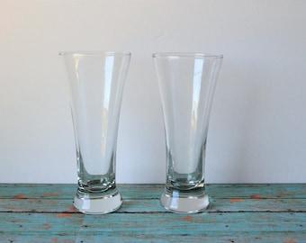 2 Libbey Clear Glass Pilsner 8 oz Beer / Ale Barware Glasses
