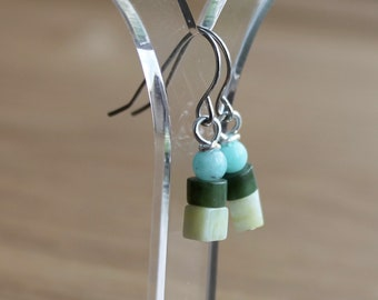 Tiny amazonite, nephrite and butter jade earrings