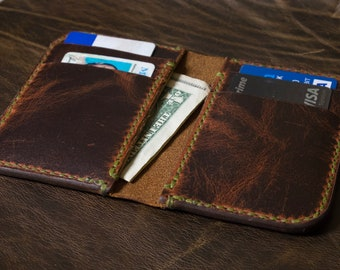 The Katahdin Tall leather card wallet handmade by The Acadian