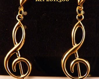 1 pair earrings treble clef gold / 2011306