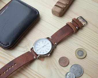 Leather Watch Strap, Horween DERBY Leather Band, Handmade Watch Strap - 16mm, 18mm, 20mm, 22mm.