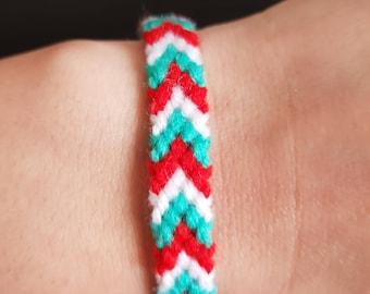 Bracelet, Red-white-green, handmade, gift for him, gift for her, arrow-shaped