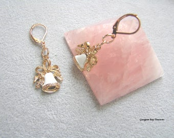 White Bell Earrings white enamel rose gold plate Christmas bells Wedding bells dangle earrings gift for her, GBT323