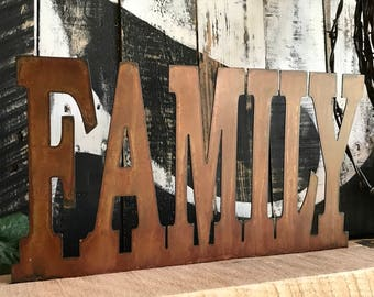 FAMILY, Metal Family sign, Farmhouse Family Mantle sign, Rustic Home Decor, Farmhouse style, Fixxer Upper style, Rustic Harvest Decor