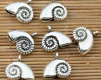 16pcs Tibetan silver snail shell charms EF1801