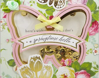A Springtime Hello Pink Butterfly Gold Sequins  Shaker Card 2018 Card Handmade