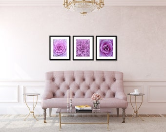 Set of 3 Flower Prints, Purple Shabby Chic Home Decor, Floral Photo, Pink, Wall Decor, Romantic Wall Art, Floral Wall Art, Living Room Decor