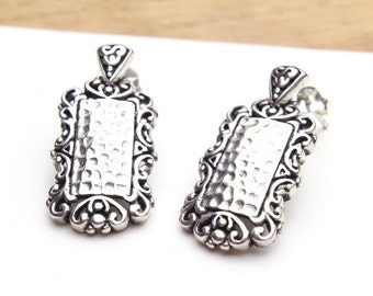 Vintage Sterling Silver 925 Ornate Fancy Hammered Rectangle Earrings on Posts