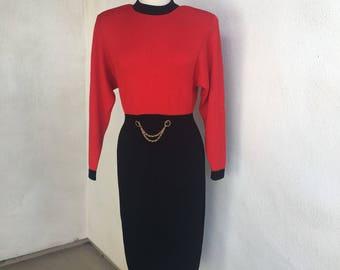 Vintage Wounded Bird St John knit dress red black sz 8