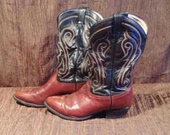 Tony Lama embroidered leather cowboy boots, size 11 EE, Free shipping