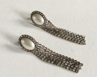 A pair of vintage faux pearl and paste chandelier clip earrings. Wedding. Party. Bride. Bridesmaid.