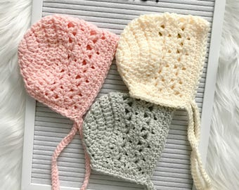Crochet Baby Bonnet / Blush Pink Bonnet / Ivory Baby Bonnet/ Light Gray Baby Bonnet / Spring Baby Bonnet