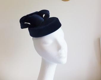 Blue velvet pill box hat with bow