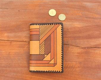 Unisex wallet Genuine leather wallet Soviet vintage UNUSED wallet Geometric wallet Estonia Embossed leather Tooled leather Gift for dad