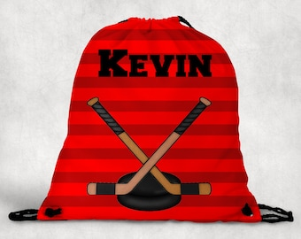 Personalized Drawstring Backpack - Hockey Backpack - Hockey Sports Bag - Personalized Kids Drawstring Bag