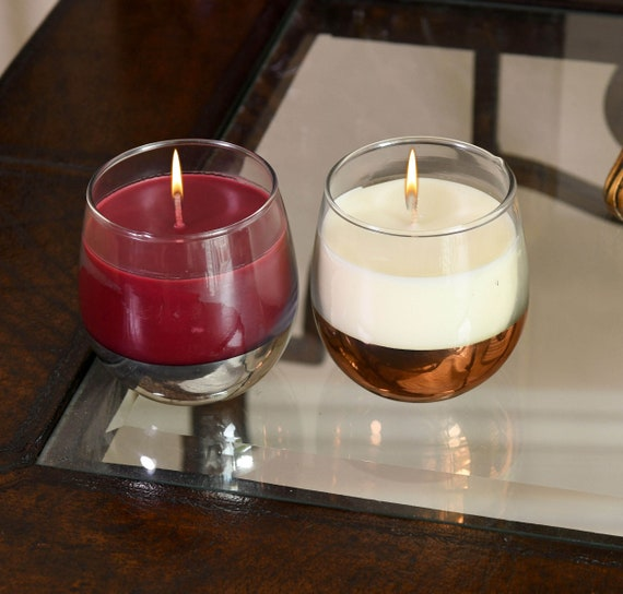 Set of 2 Wine Glass Candles with a Hidden Charm Surprise at the Bottom!