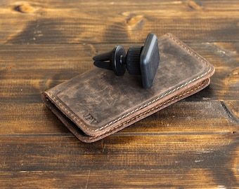 Magnetic iPhone Wallet with Car Phone Holder, iPhone Case, Distressed Leather Phone Wallet, Leather iPhone Case - McLean | Chestnut Brown