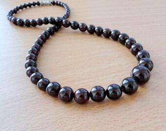 Garnet Necklace January Birthstone Necklace for Women Necklace Gift for her Gemstone Necklace Birthday Gift for Women Red Bead necklace