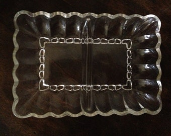 Vintage Pressed Glass Rectangular Serving Dish With Two Compartments
