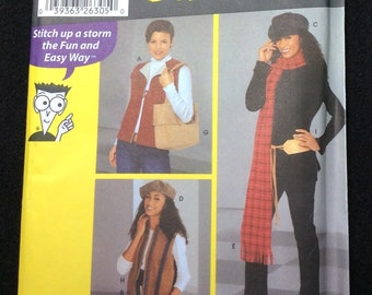 Simplicity Misses' Vests And Accessories Pattern 5751 Size  XS, S, M  Sewing Patterns For Dummies