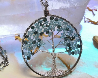 Blue winter tree of life handmade wire wrapped tree of life pendant with matching beaded chain