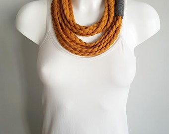 T-shirt scarf, t-shirt necklace, orange scarf, orange necklace, braided scarf, fabric scarf, fabric necklace