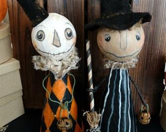 Winnie the Witch Art Doll - Original Halloween Paper Mache Sculpture - Black and White Doll