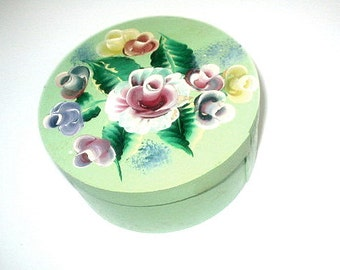 Hand Painted Wood Box Vintage Gift Box Trinkets Momentos Folk Art Shabby Chic