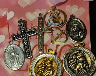 Big Sale Lot of Vintage Religious Medal Pendants Cross Saint Anthony Costume Jewelry