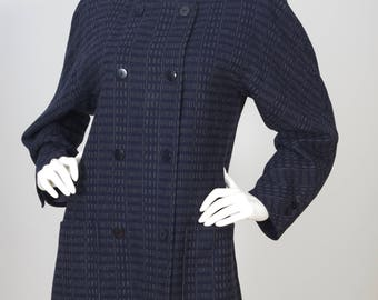 Escada by Margaretha Ley 1980s Vintage Navy & Grey Wool Double Breasted Coat Sz M