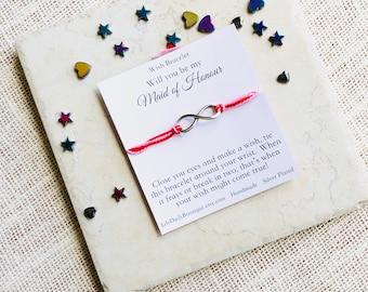 Wish Bracelet, Maid of Honor Proposal Card, Infinity Bracelet, Karma Bracelet, Bridesmaid Gift Idea, Make A Wish, String Bracelet, Silver