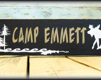 Woodland Sign - Personalized Sign - Kids Room Decor - Moose Sign - Rustic Camp Decor - Custom Wooden Sign - Camp Sign - Wildlife Room Decor