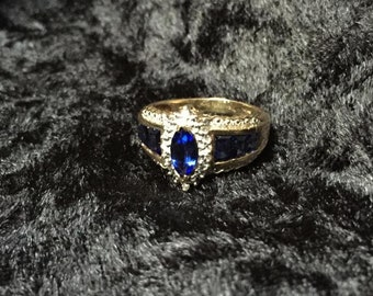 Two tone, Sapphire gold ring