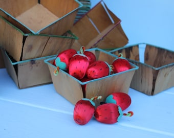 Vintage Wood and Metal Berry or Fruit Baskets for Storage or Display, ONE Basket