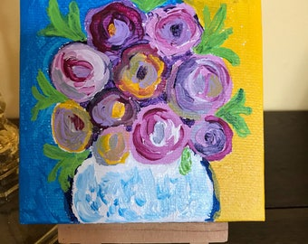 Small canvas with tiny easel, acrylic painting, original art, impressionistic floral