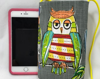 """Owl Pouch, Cross body Pouch, Cellphone Pouch, Passport Pouch, Yellow Strap, Yellow Owl Face, Green Lining  7"""" x 4.5"""" x 3/4"""""""