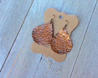 Large Teardrop Copper Earrings, Rustic Patina Earrings, Boho Style Earrings