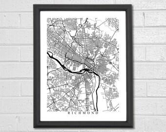 Richmond Map Art - Map Print - Black and White Print - Virginia - Office Decor - Wedding Gift - Housewarming Birthday - Engagement Gift