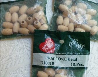 Wooden Beads, Wood Beads, Craft Supplies, Oval Beads, Jewelry Supplies, Crafts, Three Packages, Embellishments, Paintable Beads,Unique Beads