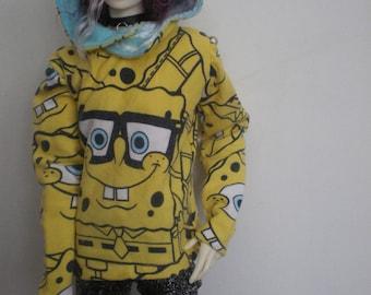Spongebob hoody with blue velvet lined hood for 50cm BJD