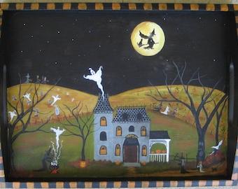 Halloween painting, Halloween folk art, witch, ghost, pumpkins, Original Halloween art