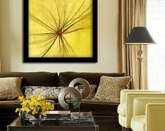 Abstract Digital Painting - Yellow Flower Fine Art Print - home decor - dorm decor - floral decor - abstract art design