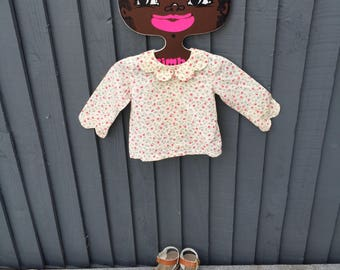 Divine floral sprig-print baby vintage smock shirt / blouse, 6 - 9 months