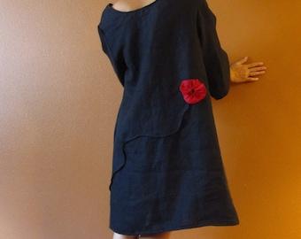 pleated flowers free line tucks linen dress made to measure / linen dress with flower / custom sleeve length / plus size / petite