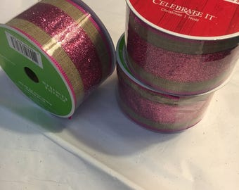 Burlap w/ pink glitter  center ribbon 2.5 inches wide, each roll is 21 ft long