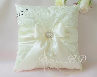 Beaded ring pillow, Wedding ring bearer pillow, Ivory ring bearer pillow, Ivory, White or gold ring pillow, Wedding pillow